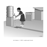 03-U07 FC Girl handwashing at a water point at a toilet block (Artist: Chatterton, Ken)