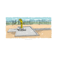 Handpump with apron and channel - colour (Artist: Shaw, Rod)