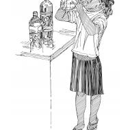 Drinking bottled water (Artist: Shaw, Rod)