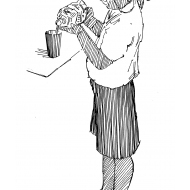 Pouring water from a bottle into a cup (Artist: Shaw, Rod)