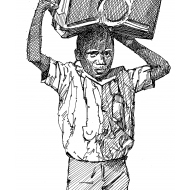 Boy carrying a jerrycan on his head v2 (Artist: Shaw, Rod)