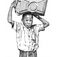Boy with a water carrier (Artist: Shaw, Rod)