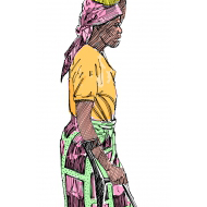 Disabled woman carrying a jerrycan on her head - colour (Artist: Shaw, Rod)