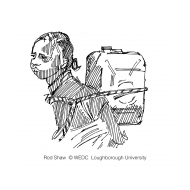 Girl carrying water on her back in a jerrycan (Artist: Shaw, Rod)