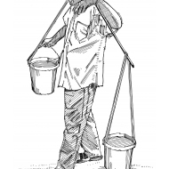 Man using a pole to lift and carry two buckets of water (Artist: Shaw, Rod)