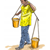 Man using a yoke to lift and carry two buckets of water - colour (Artist: Shaw, Rod)
