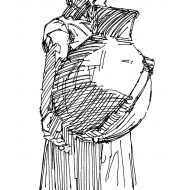 Woman carrying a water pot on her back 2 (Artist: Shaw, Rod)