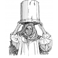 Woman holding a bucket of water on her head (Artist: Shaw, Rod)