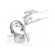 Child receiving polio vaccine (Artist: Shaw, Rod)
