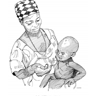 Mother feeding baby with a spoon (Artist: Shaw, Rod)
