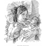 Wrapped newborn with mother (Artist: Shaw, Rod)