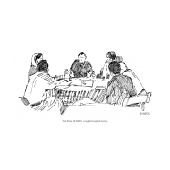 Community meeting around a table (Artist: Shaw, Rod)