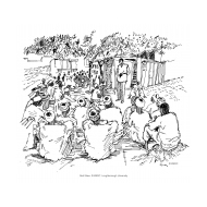 Male volunteer leading a group discussion (Artist: Shaw, Rod)