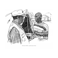 Volunteer talking to a beneficiary (Artist: Shaw, Rod)