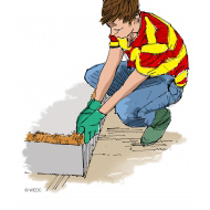 Building a clay dam wearing gloves - colour (Artist: Shaw, Rod)