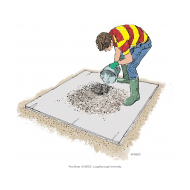Mixing concrete 10 - Pouring water into the crater - colour (Artist: Shaw, Rod)
