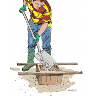 Mixing concrete 2 - Filling the container with aggregate - colour (Artist: Shaw, Rod)