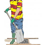 Mixing concrete 3 - Levelling the contents of the container - colour (Artist: Shaw, Rod)