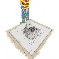 Mixing concrete 7 - Making a crater in the mixture - colour (Artist: Shaw, Rod)