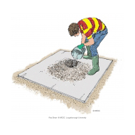 Mixing concrete 8 - Pouring water into the crater - colour (Artist: Shaw, Rod)