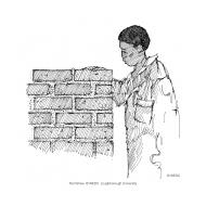 Woman building a brick wall (Artist: Shaw, Rod)