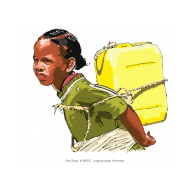 Girl with jerrycan on her back - colour (Artist: Shaw, Rod)