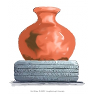 Round clay water pot and tyre - colour (Artist: Shaw, Rod)