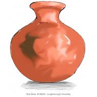 Round clay water pot v2 - colour (Artist: Shaw, Rod)