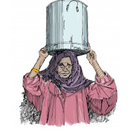 Woman holding a bucket of water on her head - colour (Artist: Shaw, Rod)