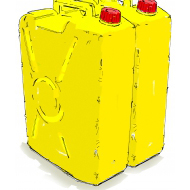 Yellow jerry cans - colour (Artist: Shaw, Rod)