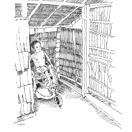 Disabled boy using an adapted wheelchair over a squatting plate (Artist: Shaw, Rod)