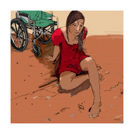 Disabled girl crawling - colour (Artist: Shaw, Rod)