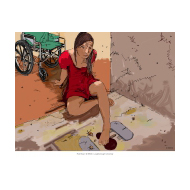 Disabled girl entering an unimproved latrine - colour (Artist: Shaw, Rod)