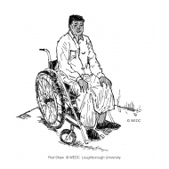 Disabled man using an adapted wheelchair over a squatting plate (Artist: Shaw, Rod)