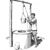 Disabled man with artificial limb drawing water from a well (Artist: Shaw, Rod)