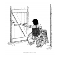 Disabled wheelchair user closing a door with a handrail (Artist: Shaw, Rod)