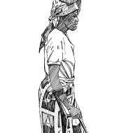 Disabled woman carrying a water container on her head (Artist: Shaw, Rod)