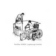 Disabled woman in a wheelschair collecting water from a well v2 (Artist: Shaw, Rod)