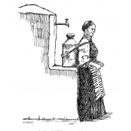Disabled woman loading water onto her back from a standpost (Artist: Shaw, Rod)