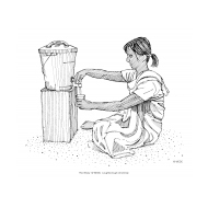 Disabled woman using a bucket with a tap (Artist: Shaw, Rod)