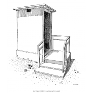 Shallow even steps to latrine with handrail (Artist: Shaw, Rod)