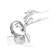 Child receiving polio vaccine (Artist: Shaw, Rod)