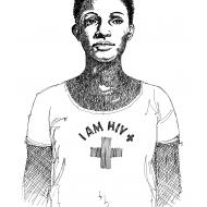 Woman wearing an HIV T-shirt (Artist: Shaw, Rod)