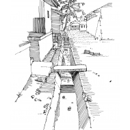 Drainage trench with concrete slabs (Artist: Shaw, Rod)