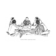 Group meeting around a table (Artist: Shaw, Rod)