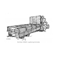 Tractor pulling a bed trailer carrying a bladder tank (Artist: Shaw, Rod)