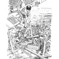 Child clearing up after a flood (Artist: Shaw, Rod)