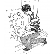Cleaning a pedestal toilet (Artist: Shaw, Rod)