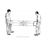Improvised stretcher using shirts (Artist: Shaw, Rod)