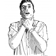 Man choking (Artist: Shaw, Rod)